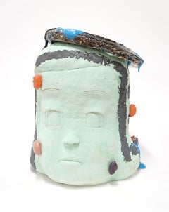 """""""Large Head Number 1"""", Contemporary, Ceramic, Sculpture, Abstract, Figurative"""