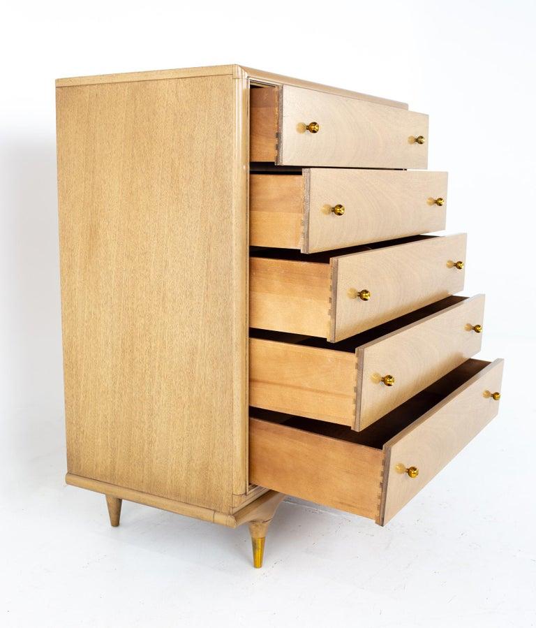 Brass Kent Coffey Continental Mid Century 5 Drawer Highboy Dresser For Sale
