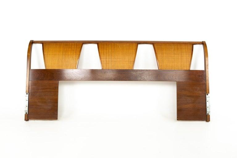 Mid-Century Modern Kent Coffey Mid Century Caned King Headboard For Sale