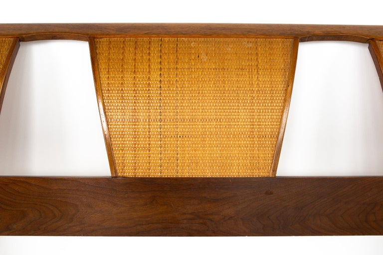 American Kent Coffey Mid Century Caned King Headboard For Sale