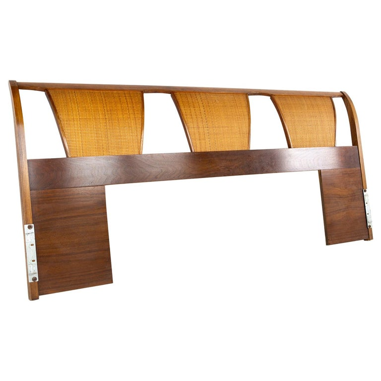 Kent Coffey Mid Century Caned King Headboard For Sale
