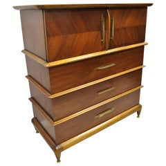 Kent Coffey the Appointment Midcentury Sculpted Walnut Chest Dresser Highboy