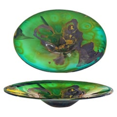 Kent Forrest Ipsen Studio Glass Centerpiece Green with Purple and Yellow Accents