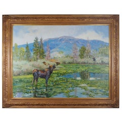 "Kent Lemon ""Distant Thunder"" Oil on Canvas Colorado Landscape Painting Moose"