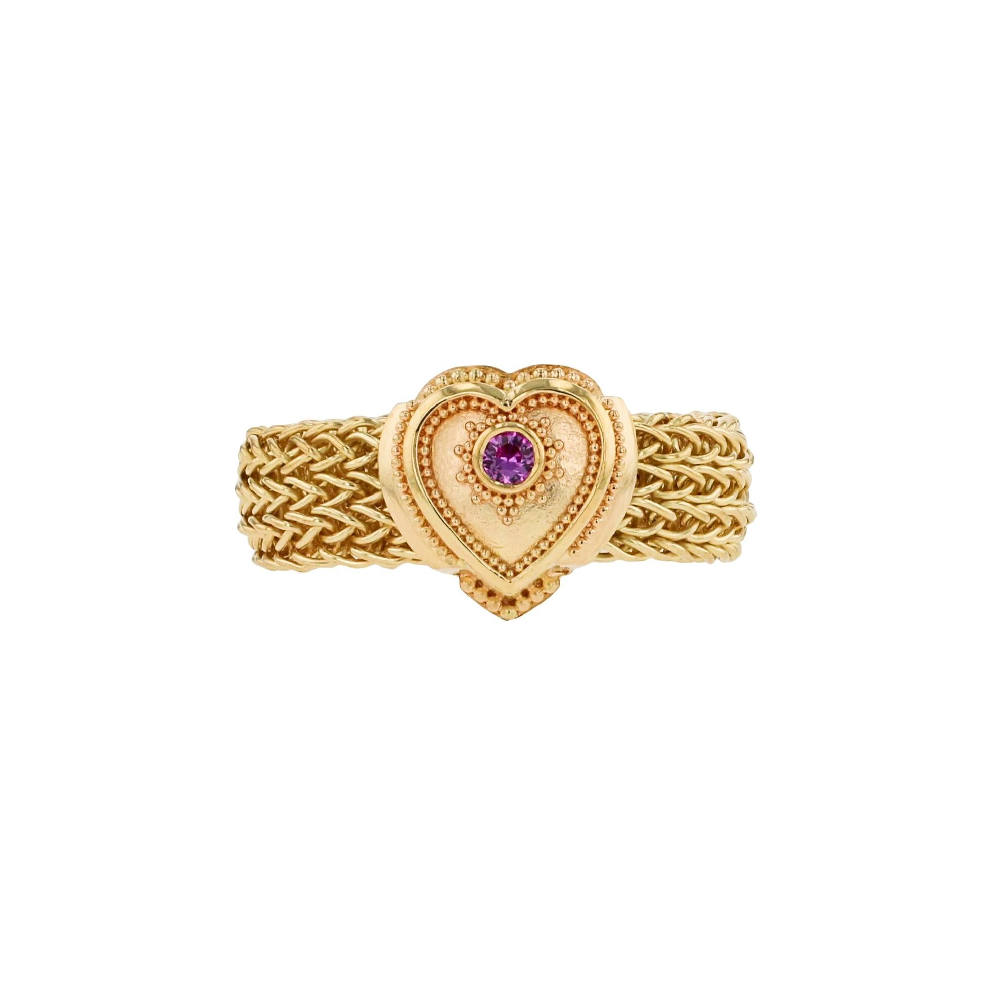 Kent Raible 18 karat Gold and Pink Sapphire Heart Fashion Ring with Granulation