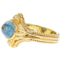 Kent Raible 18 Karat Gold Aqua Cabochon Diamond Ring with Fine Granulation