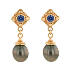 Kent Raible 18 Karat Gold Blue Sapphire and Black Pearl Dangle Earrings