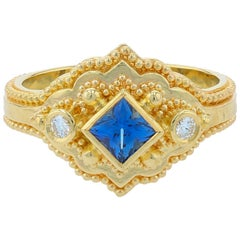 Kent Raible 18 Karat Gold Blue Sapphire and Diamond Cocktail Ring, Granulation