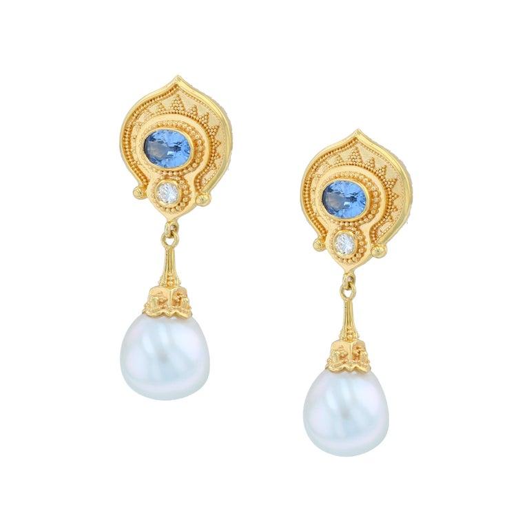 Artisan Kent Raible 18 Karat Gold Blue Sapphire, Diamond, Pearl Dangle Earrings For Sale