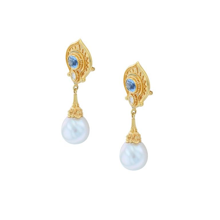 Mixed Cut Kent Raible 18 Karat Gold Blue Sapphire, Diamond, Pearl Dangle Earrings For Sale