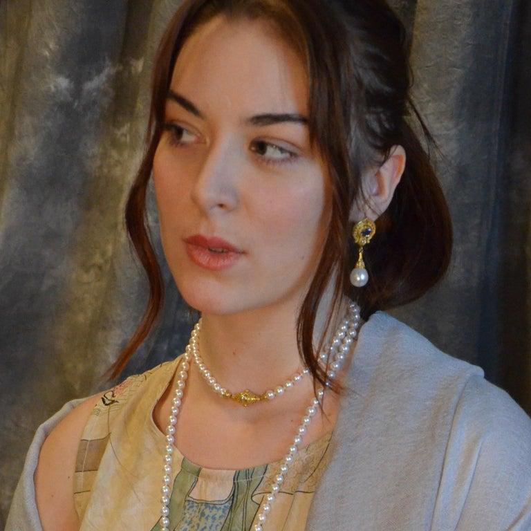 Kent Raible 18 Karat Gold Blue Sapphire, Diamond, Pearl Dangle Earrings For Sale 1