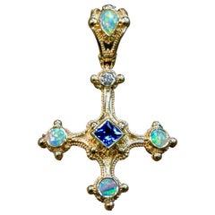 Kent Raible 18 Karat Gold Blue Sapphire, Opal Cross Pendant, Fine Granulation