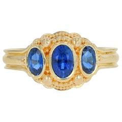 Kent Raible 18 Karat Gold Blue Sapphire Three-Stone Ring with Fine Granulation