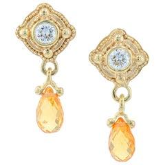 Kent Raible 18 Karat Gold, Diamond and Yellow Sapphire Drop Earrings