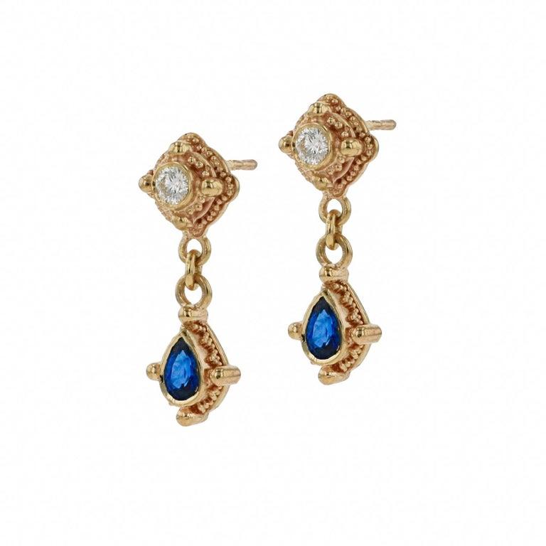 Artisan Kent Raible 18 Karat Gold, Diamond, Blue Sapphire Drop Earrings with Granulation For Sale