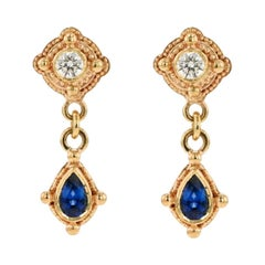 Kent Raible 18 Karat Gold, Diamond, Blue Sapphire Drop Earrings with Granulation
