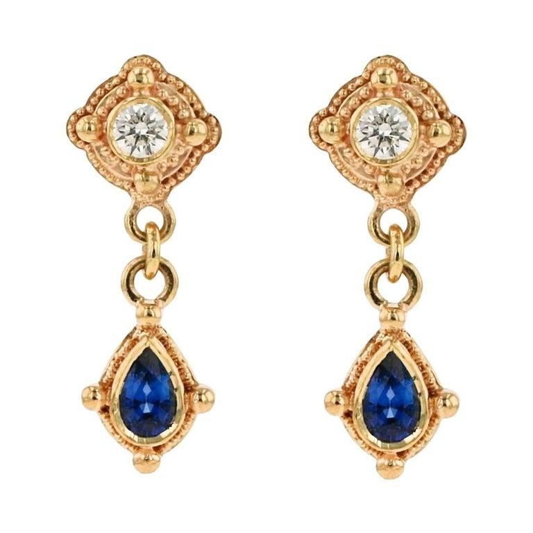 Kent Raible 18 Karat Gold, Diamond, Blue Sapphire Drop Earrings with Granulation For Sale