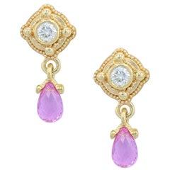 Kent Raible 18 Karat Gold, Diamond, Pink Sapphire Drop Earrings, Granulation
