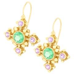 Kent Raible 18 Karat Gold, Green Garnet and Pink Sapphire Drop Earrings