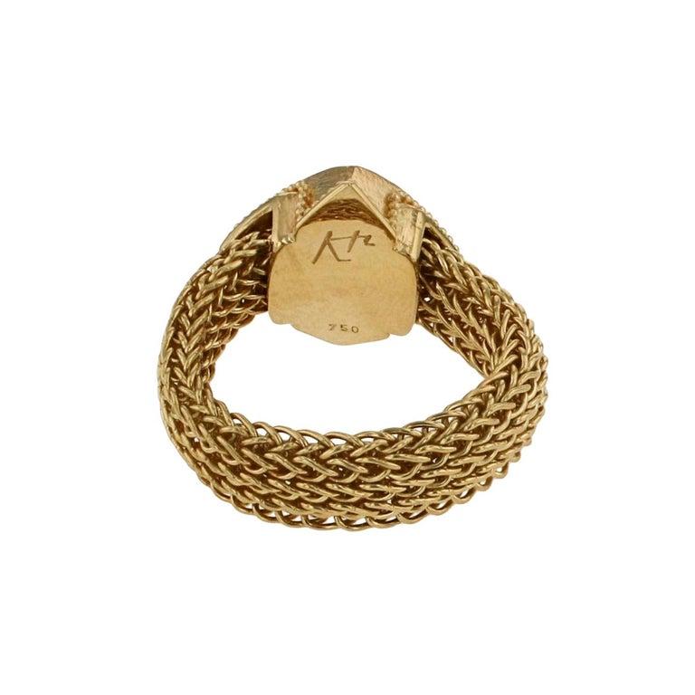 Round Cut Kent Raible 18 Karat Gold Green Garnet Fashion Ring with Woven Chain For Sale