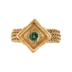 Kent Raible 18 Karat Gold Green Garnet Fashion Ring with Woven Chain