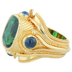 Kent Raible 18 Karat Gold Green Sapphire and Blue Sapphire Cocktail Ring