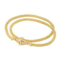 Kent Raible 18 Karat Gold Hand Woven Chain with Diamond Clasp and Granulation