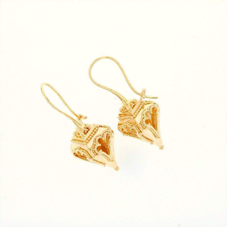 Women's or Men's Kent Raible 18 Karat Gold 'Lantern Earrings' with Granulation Detail For Sale