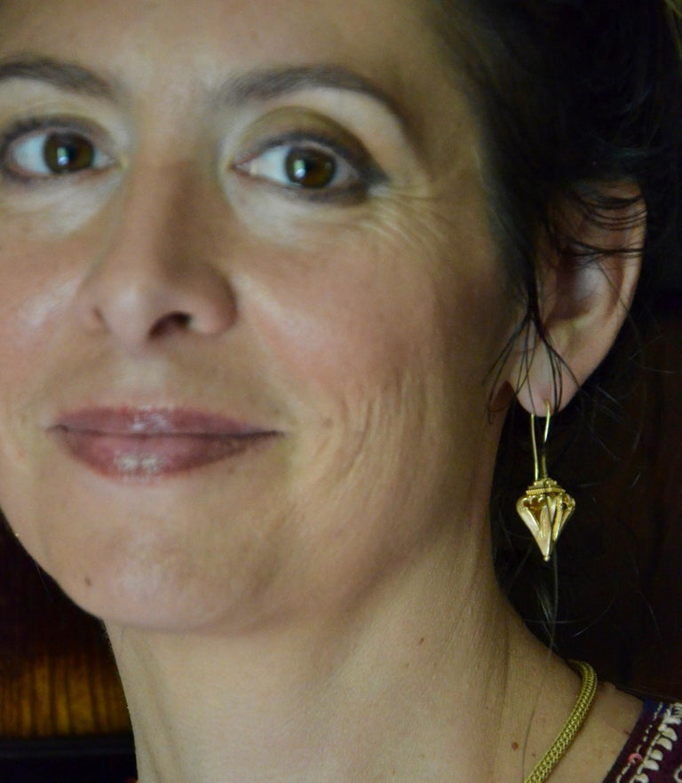 Kent Raible 18 Karat Gold 'Lantern Earrings' with Granulation Detail For Sale 1