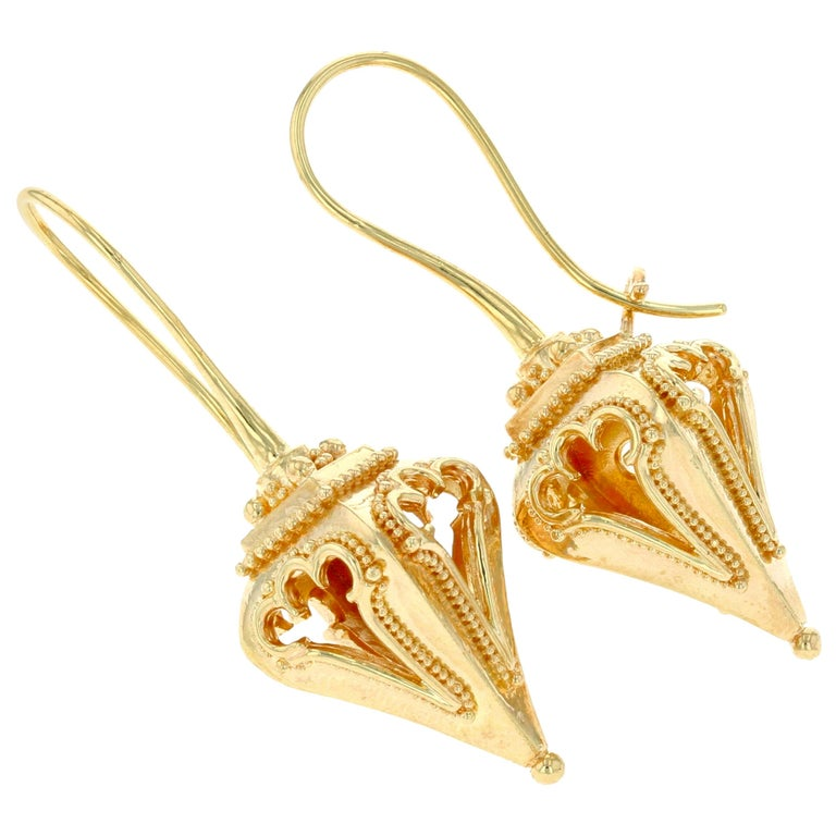 Kent Raible 18 Karat Gold 'Lantern Earrings' with Granulation Detail For Sale