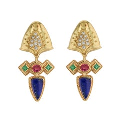 Kent Raible 18 Karat Gold Lapis, Spinel and Diamond Earrings with Emeralds
