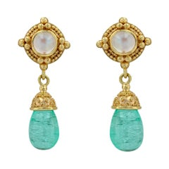 Kent Raible 18 Karat Gold Moonstone Dangle Earrings with Emerald and Granulation
