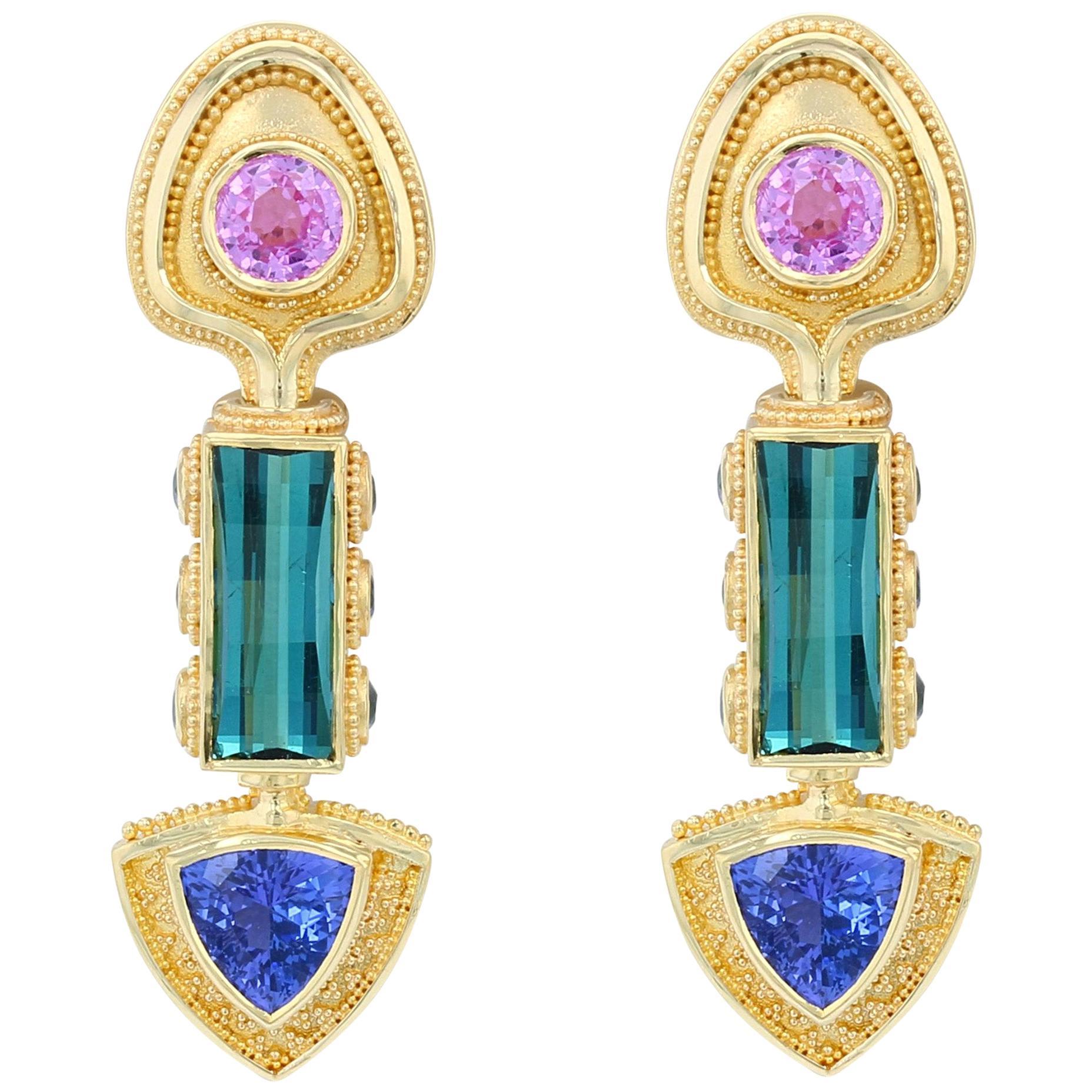 Kent Raible 18 Karat Gold Multi Gemstone Drop Earrings with Fine Granulation