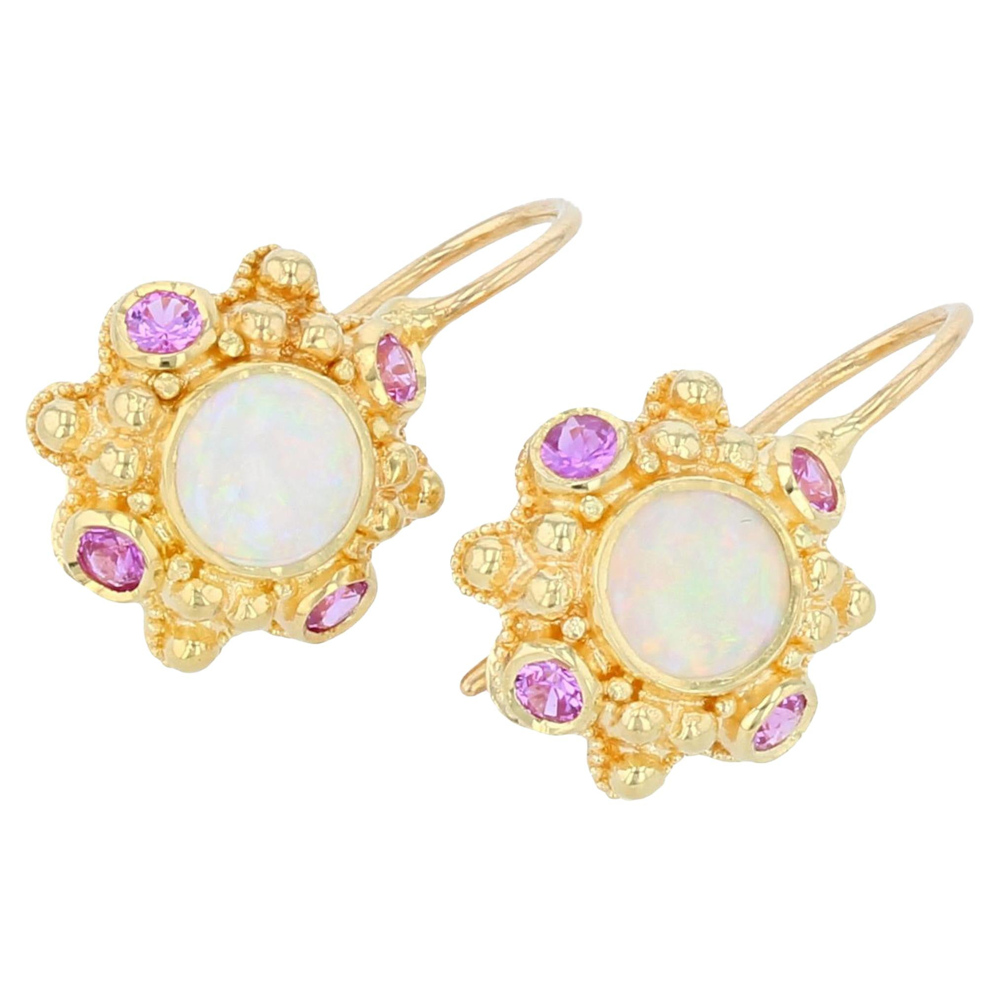 Kent Raible 18 Karat Gold Opal and Pink Sapphire Drop Earrings with Granulation