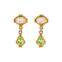 Kent Raible 18 Karat Gold Opal, Green Garnet Dangle Earrings with Granulation