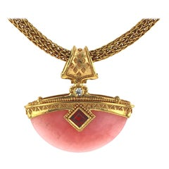 Kent Raible 18 Karat Gold, Pink Opal, Garnet, Diamond Pendant Necklace Enhancer