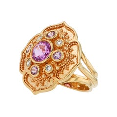 Kent Raible 18 Karat Gold Pink Sapphire and Diamond Flower Cluster Ring