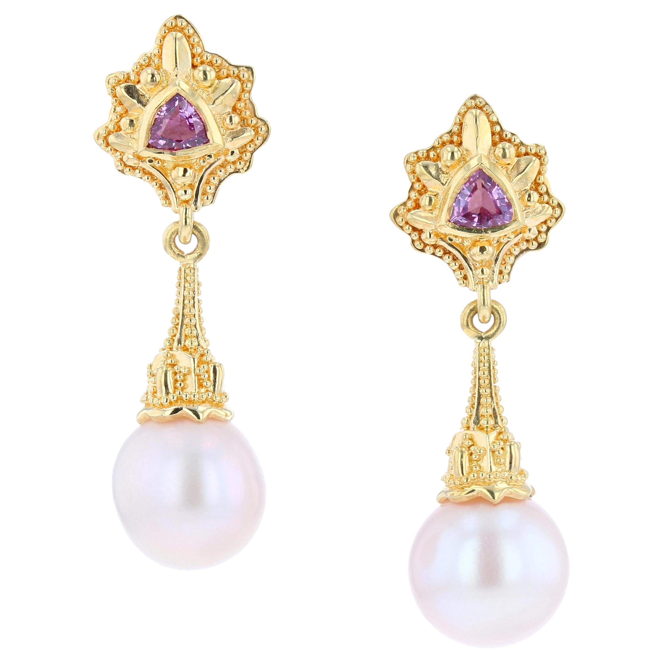 Kent Raible 18 Karat Gold Pink Sapphire and Pearl Drop Earrings with Granulation