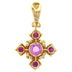 Kent Raible 18 Karat Gold 'Snowflake Pendant' with Pink Sapphire and Granulation