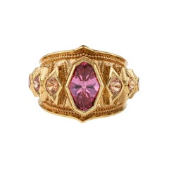 Kent Raible 18 Karat Gold Spinel Sapphire Bespoke Cocktail Ring with Granulation