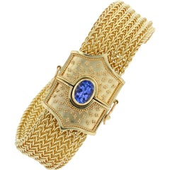 Kent Raible 18 Karat Gold Wide Woven Chain Bracelet, Tanzanite with Granulation