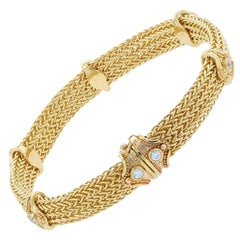 Kent Raible 18 Karat Gold Woven Chain Bracelet with Diamonds and Granulation