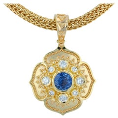 Kent Raible 18 Karat Natural Blue Sapphire 'Flower Necklace Enhancer' Pendant