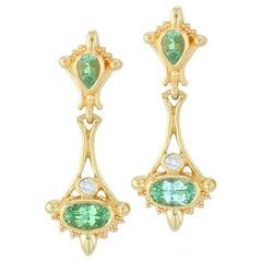 Kent Raible 18K Gold Green Garnet, Diamond Drop Earrings with Fine Granulation
