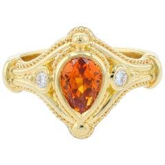 Kent Raible 18k Gold Sapphire and Diamond Three-Stone Ring with Granulation