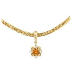 Kent Raible 18K Gold Sapphire Pendant Necklace with Diamond and Gold Granulation