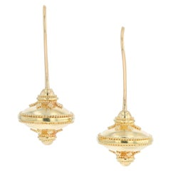 Kent Raible 18k Gold Small Flying Saucers Drop Dangle Earrings with Granulation