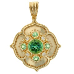 Kent Raible 18k Large 'Flower Pendant' with Green Tourmaline, Garnet, Diamonds