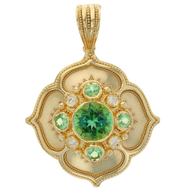 Kent Raible 18k Large 'Flower Pendant' with Green Tourmaline, Garnet, Diamonds  For Sale