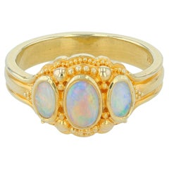 Kent Raible Australian Fire Opal Three-Stone Ring with Fine 18k Gold Granulation